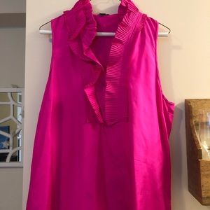 Jcrew ruffle neck shirt hot pink
